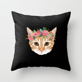 Orange Tabby cat breed with floral crown cute cat gifts cat lady must haves Throw Pillow