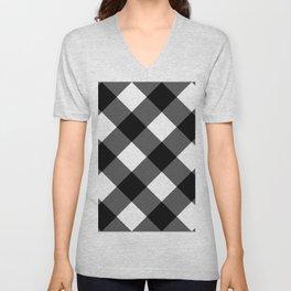 black and white 3 Unisex V-Neck