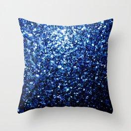 Beautiful Dark Blue glitter sparkles Throw Pillow