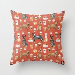 Australian Cattle Dog coffee pet friendly dog breed dog pattern art Throw Pillow