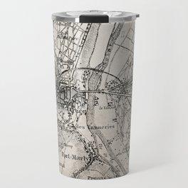 Vintage Paris old retro map Travel Mug