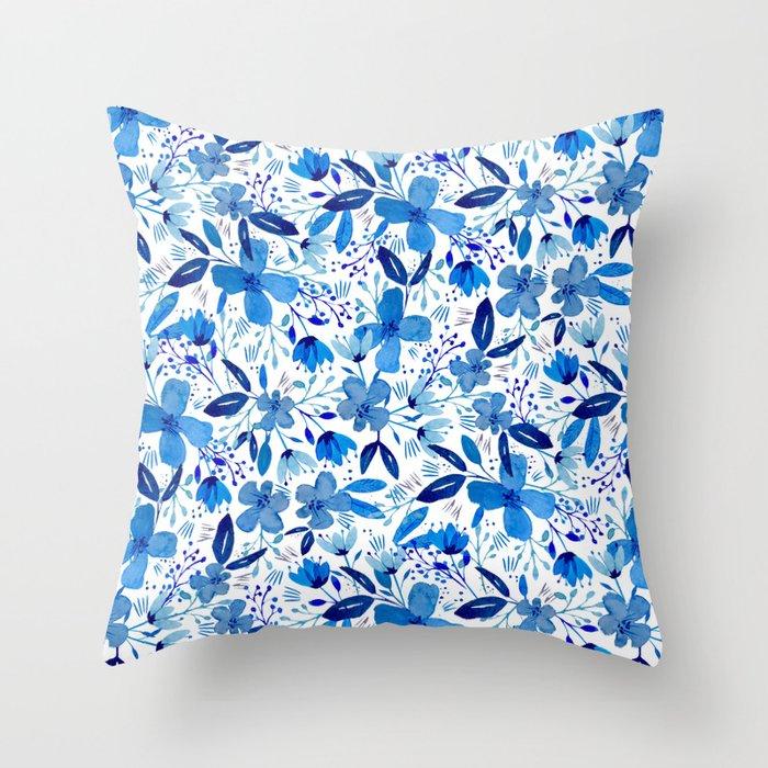 Blue Watercolour Florals Throw Pillow