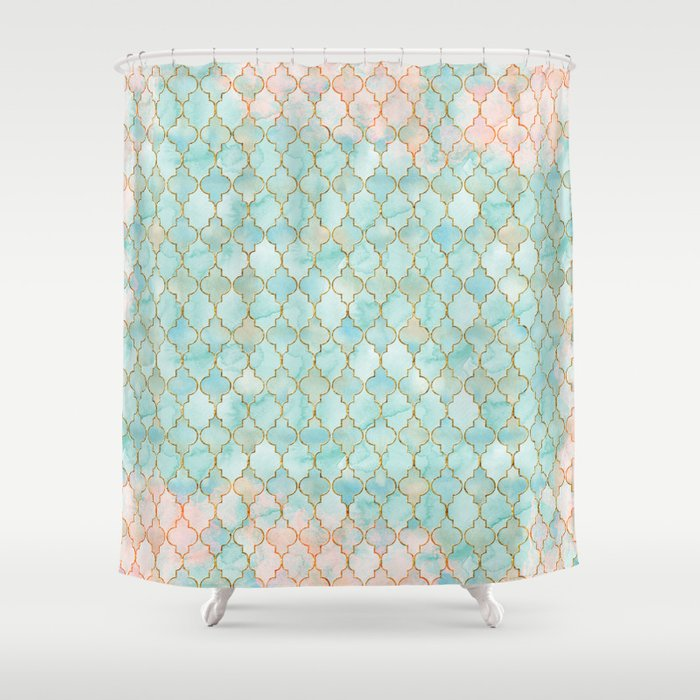 Luxury Aqua And Pink Gold Oriental Pattern Shower Curtain