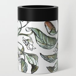 Hot Peppers Botanical Drawing Can Cooler
