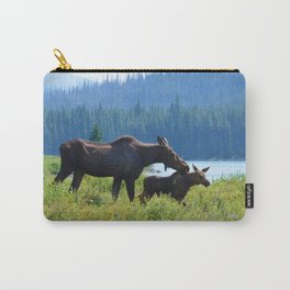 Mother moose & calf at Maligne Lake in Jasper National Park Carry-All Pouch