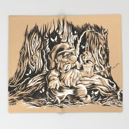 Scared gnome in a dark forest Throw Blanket
