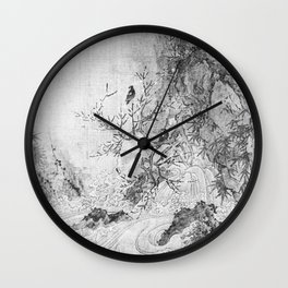 Landscape with Rapids BW Wall Clock