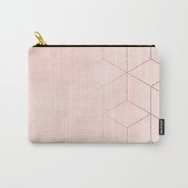 Rose Gold Pink Pastel Geometric Cubes Carry-All Pouch