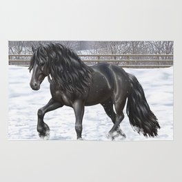 Friesian Horse Trotting In Snow Rug