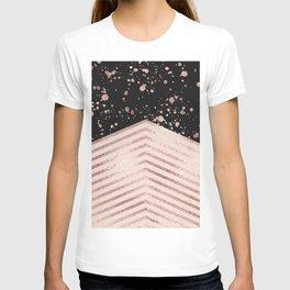 Luxury Rose Gold Pink Black Chevron Paint Splatter T-shirt