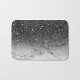 Stylish faux black glitter ombre white marble pattern Bath Mat
