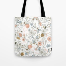 Abstract modern coral white pastel rustic floral Tote Bag