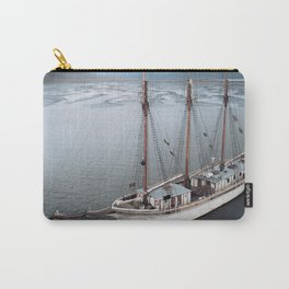Sailing Ship in front of a Mountain Valley in Norway Carry-All Pouch