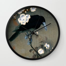 Vintage Japanese Crow and Blossom Woodblock Print Wall Clock