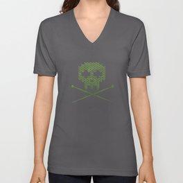 Knitted Skull - White on Olive Green Unisex V-Neck