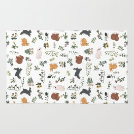 Bunnies and spring flowers Rug