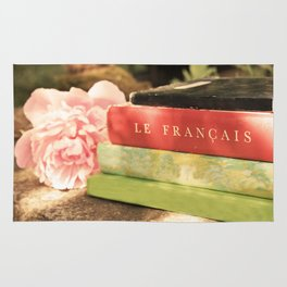 Pink Peony and French Books Still Life Rug