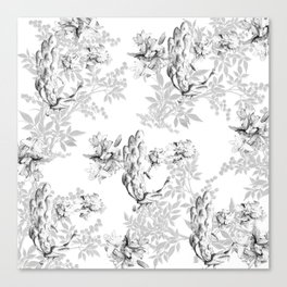 PEACOCK LILY TREE AND LEAF TOILE GRAY AND WHITE PATTERN Canvas Print