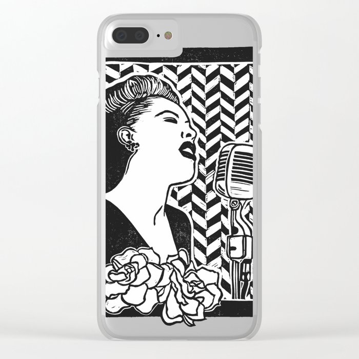 Lady Day (Billie Holiday block print blk) Clear iPhone Case
