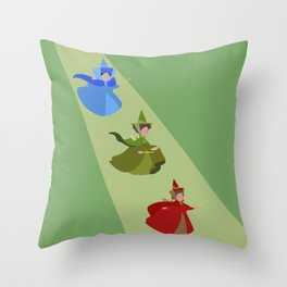 3 Fairies (Green) Throw Pillow