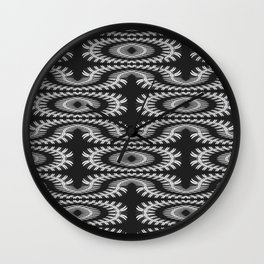 Monochrome centipede arabesque Wall Clock
