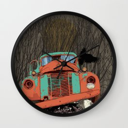 Rusted old truck, wolf skull, raven. Wall Clock