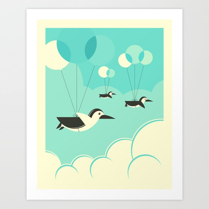 FLOCK OF PENGUINS Art Print