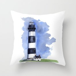 Bodie Island Lighthouse loose watercolor painting Throw Pillow