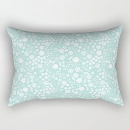 Vintage bohemian pastel green white flowers illustration Rectangular Pillow