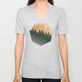Cascadia Green Trees and Sunset Unisex V-Neck