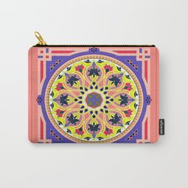 Boho Floral Crest Yellow and Peach Carry-All Pouch