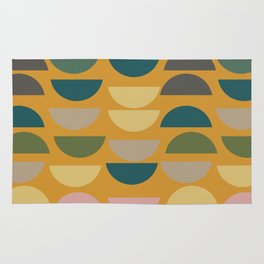 Geometric Graphic Design Shapes Pattern in Mustard Yellow Rug