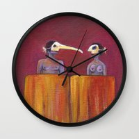 theater Wall Clocks featuring Theater masks by Bunny Noir