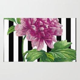 Pink Peony Black Stripes Chic Rug