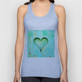 Blue Peeling Paint Wood Heart Unisex Tank Top