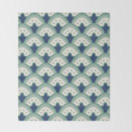 Fan Pattern Blue/Green Throw Blanket