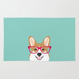 Teagan Glasses Corgi cute puppy welsh corgi gifts for dog lovers and pet owners love corgi puppies Rug