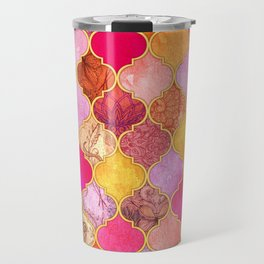 Hot Pink, Gold, Tangerine & Taupe Decorative Moroccan Tile Pattern Travel Mug