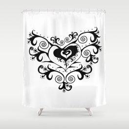 Tribal Heart - White & Black (White Background) Shower Curtain