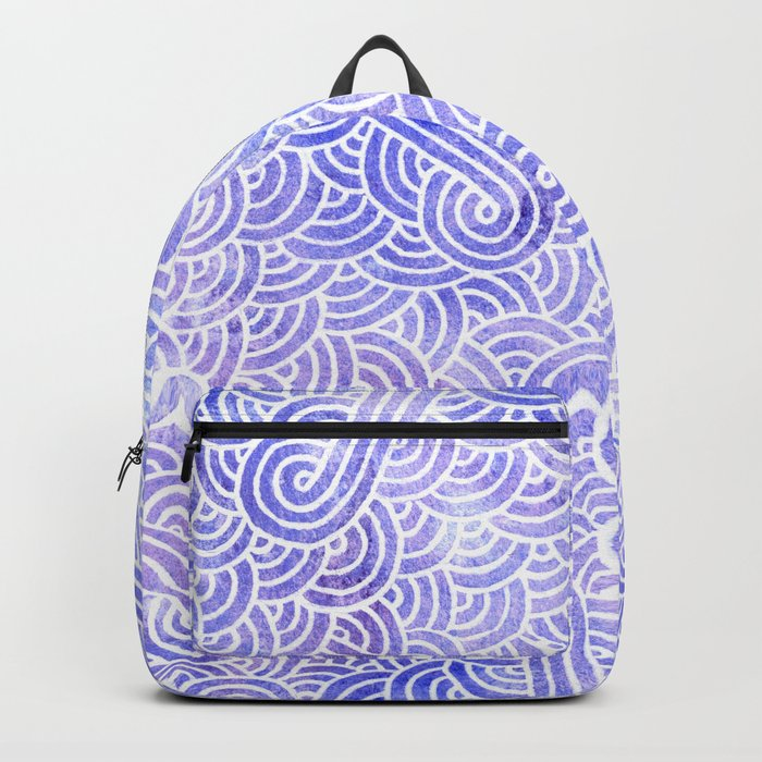 Lavender and white swirls doodles Backpack