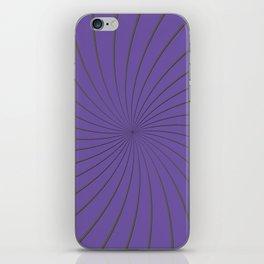 3D Purple and Gray Thin Striped Circle Pinwheel Digital Illustration - Artwork iPhone Skin