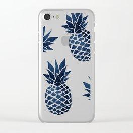 Pineapple Blue Denim Clear iPhone Case