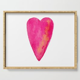 Pink Heart Full Of Love Watercolor Serving Tray