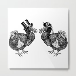 Mr and Mrs Dodo | Black and White Metal Print