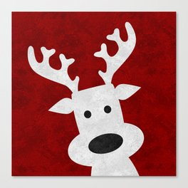 Christmas reindeer red marble Canvas Print