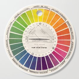 Vintage Color Wheel - Art Teaching Tool - Rainbow Mood Chart Cutting Board