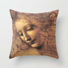 Head of a Woman - Leonardo Da Vinci Throw Pillow