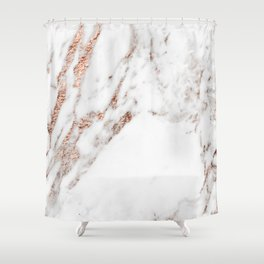 Rose gold foil marble Shower Curtain