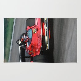 Sketch of F1 Champion Gilles Villeneuve - year 1979 car 312 T4 - Vertical Rug