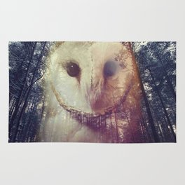 Merge owl and forest reflection Rug